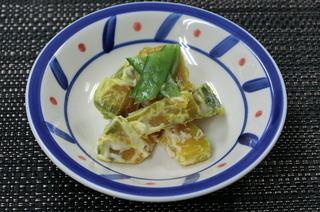 絹さやとカボチャのマヨネーズサラダ